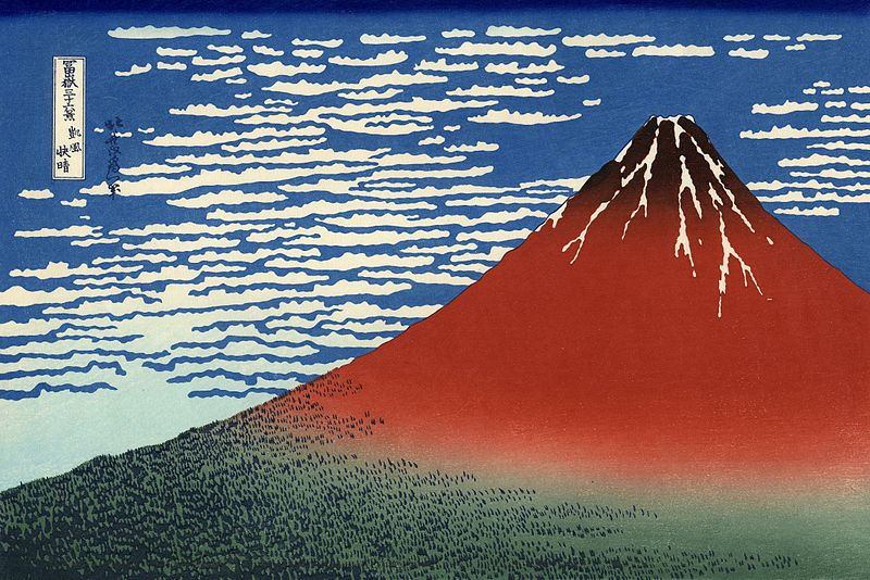 Stampa di Hokusai: giornata limpida col vento del sud