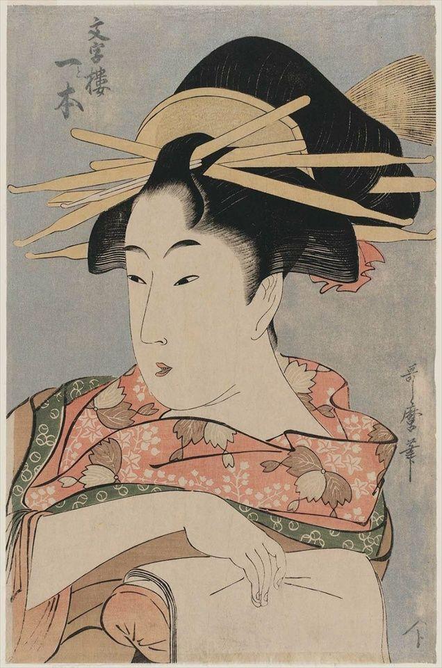 stampa di Utamaro: busto di beltà femminile